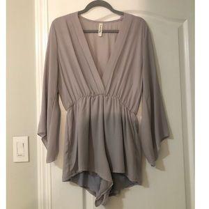 Soft Grey Bell Sleeve Romper